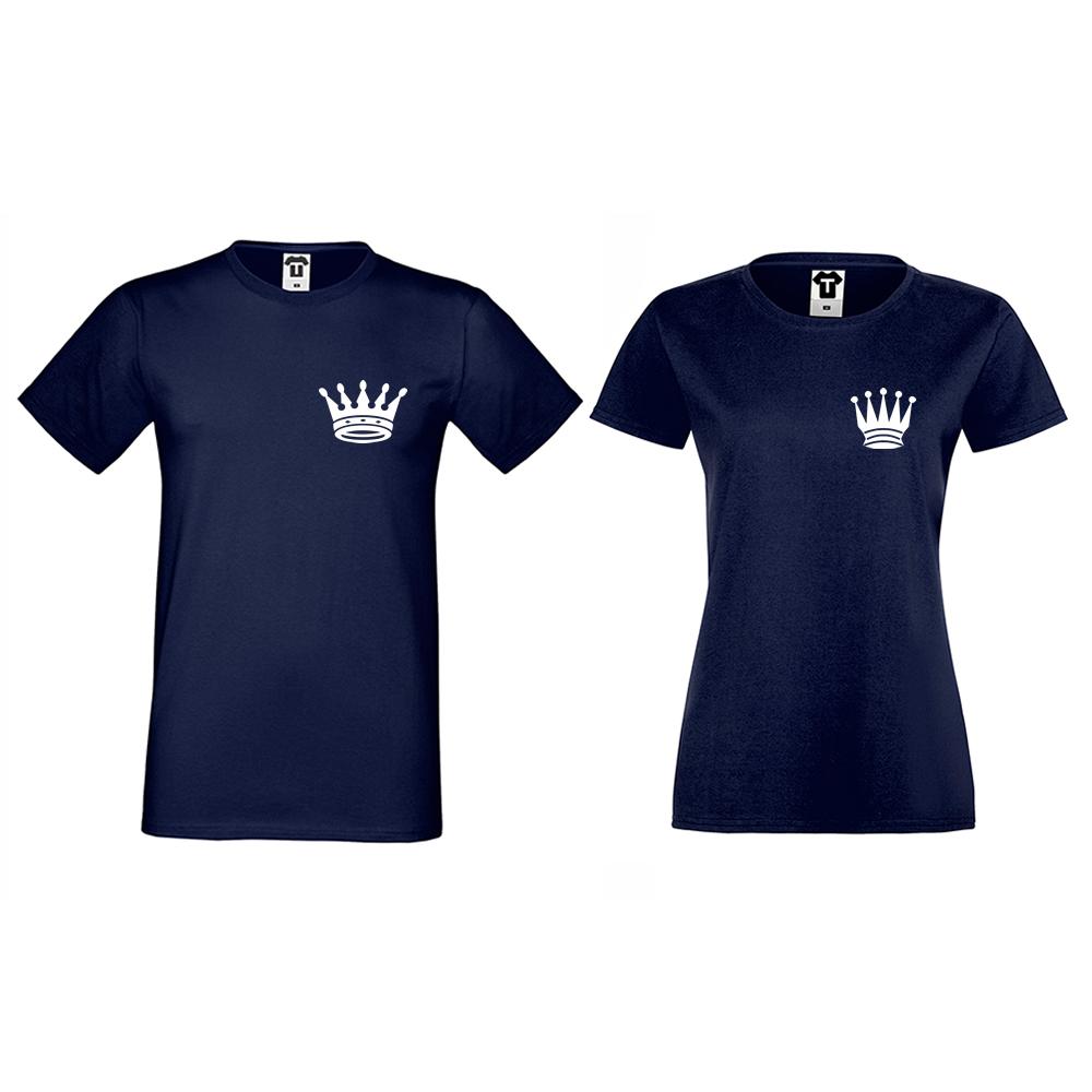 Тъмно-сини Тениски за двойки Pocket Crowns