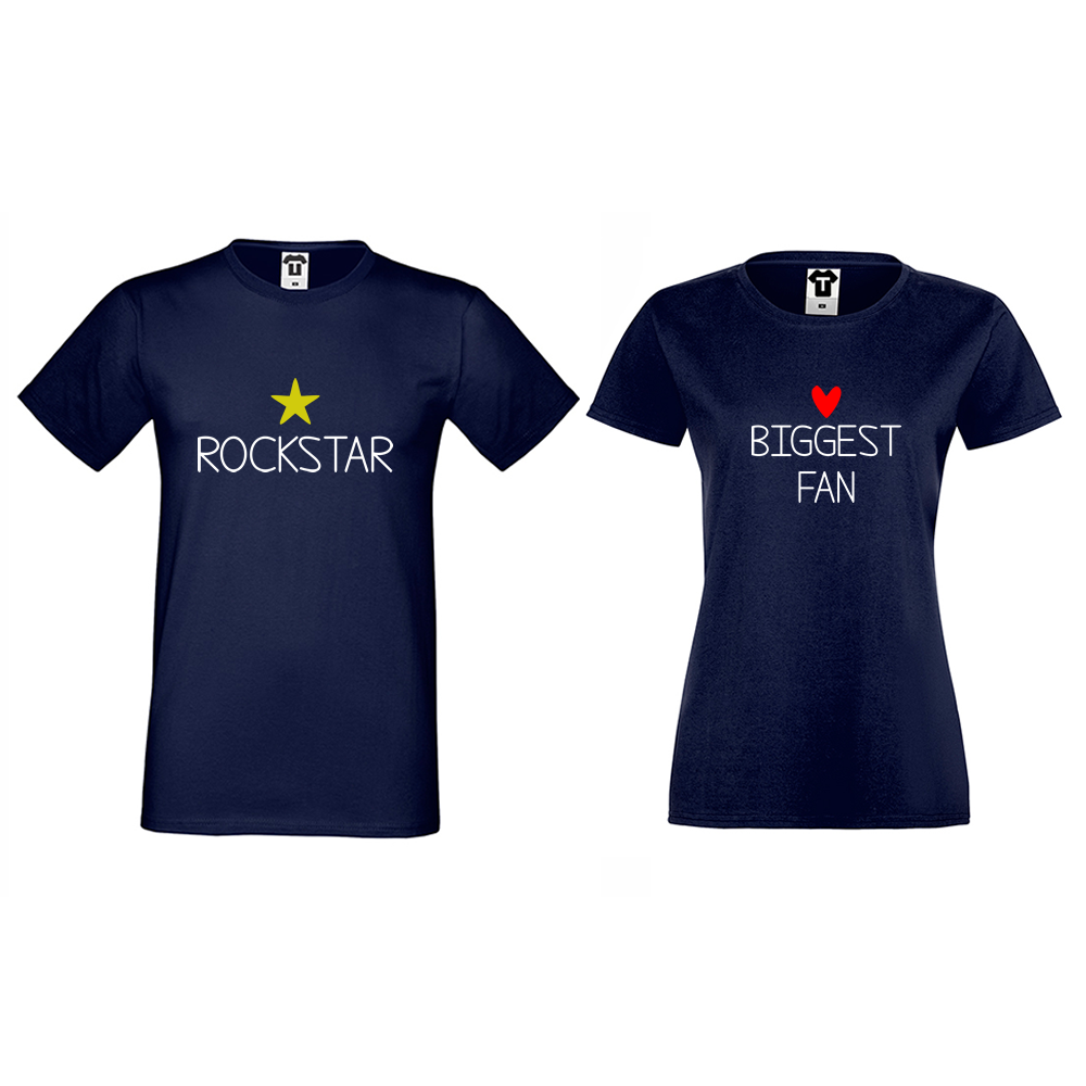 Тъмно-сини Тениски за двойки Rockstar and Fan