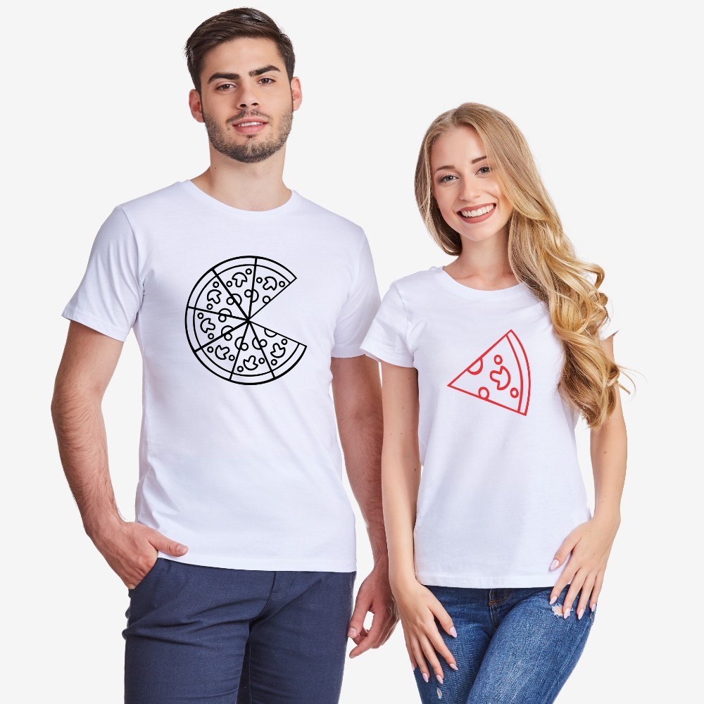 Комплект бели или черни тениски за двойки Pizza Couple