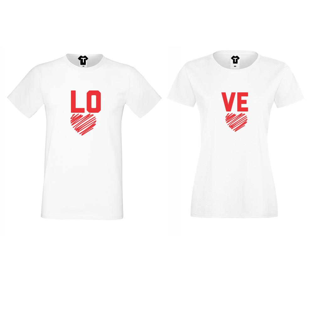 Бели тениски LOVE - LO VE