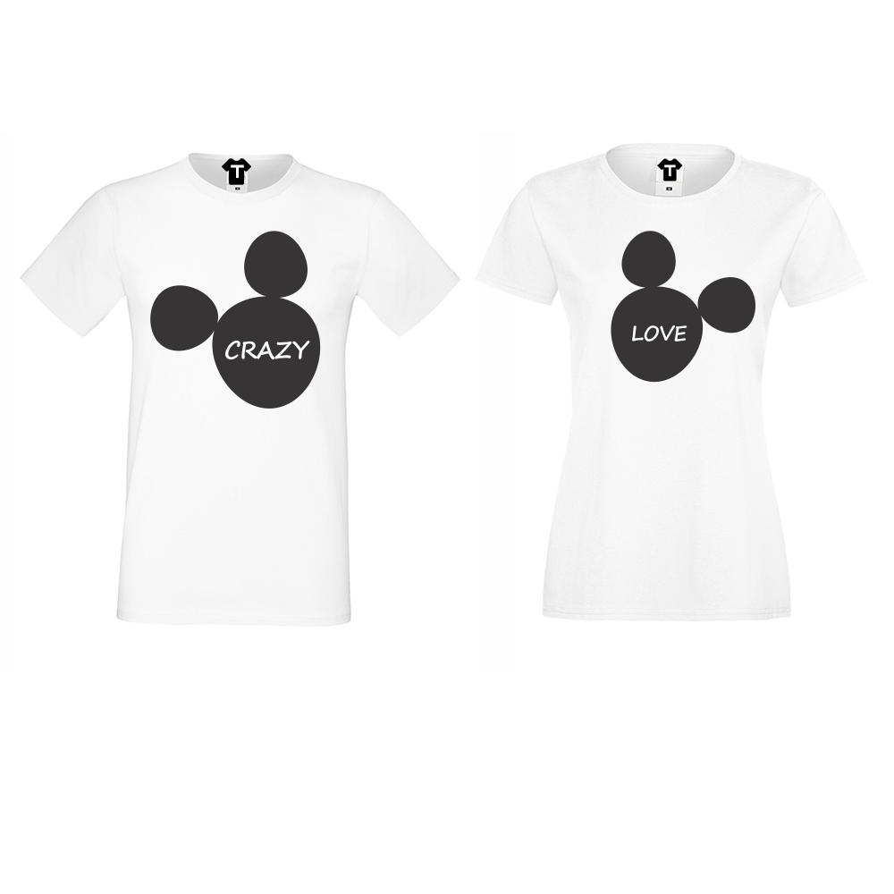 Бели Тениски за двойки Crazy Love