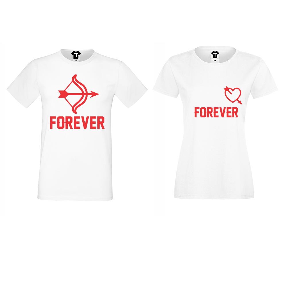 Бели Тениски за двойки Forever Arrows