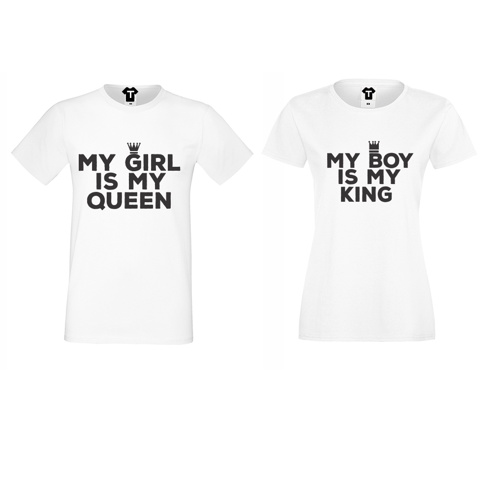 Бели Тениски за двойки My Girl Is My Queen