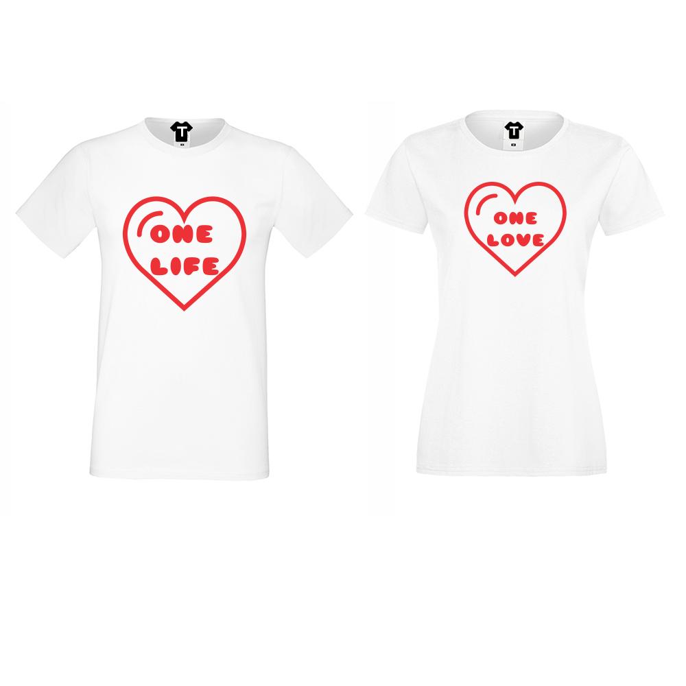 Бели Тениски за двойки One Life - One Love