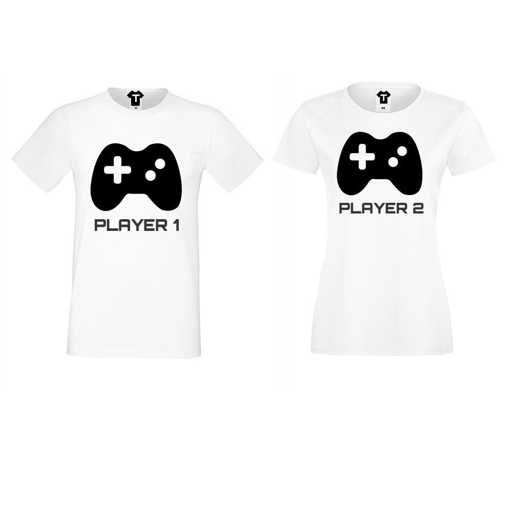 Бели Тениски за двойки Player 1 - Player 2