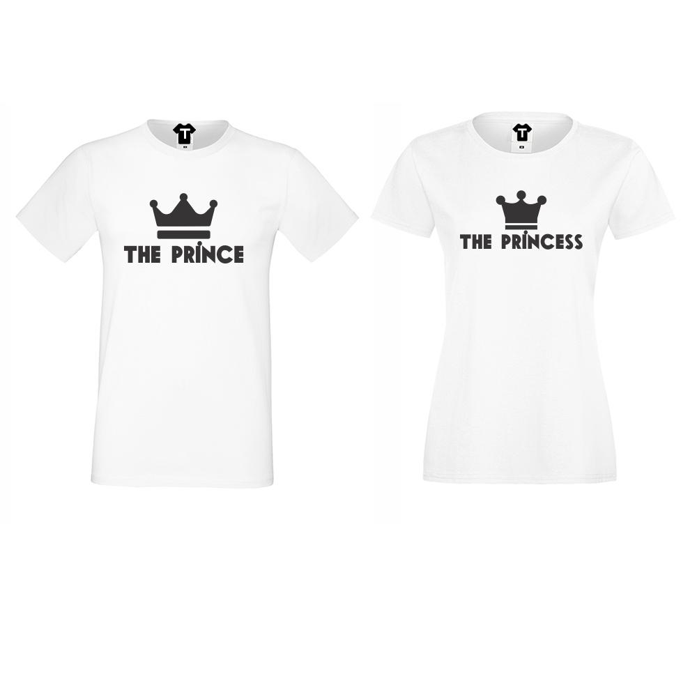 Бели Тениски за двойки The Prince - The Princess