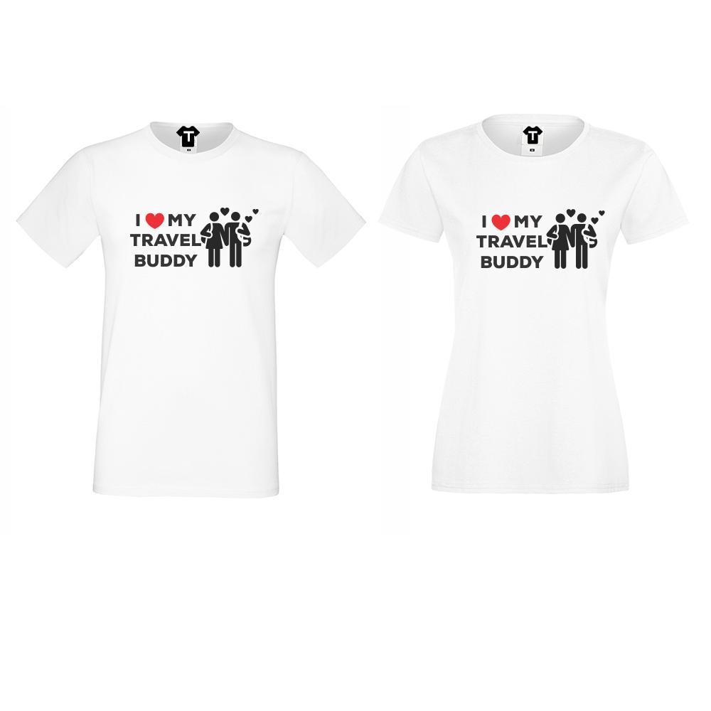 Бели Тениски за двойки Travel Buddy