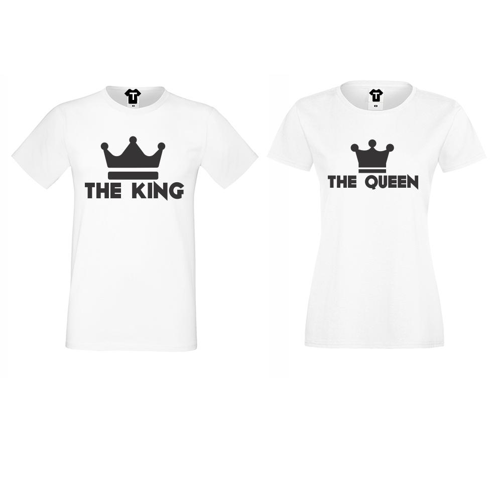 Бели Тениски за двойки с черна щампа KING - QUEEN