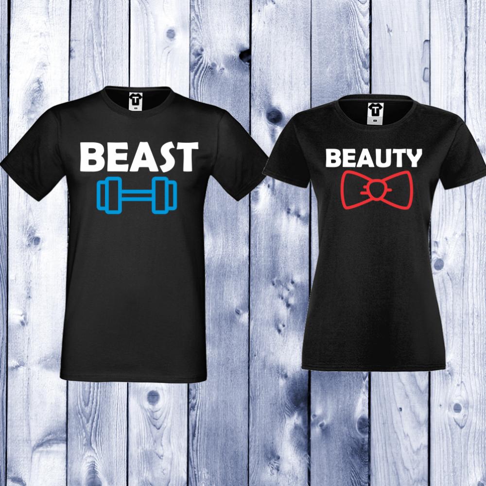 Черни Тениски за двойки Beast and Beauty