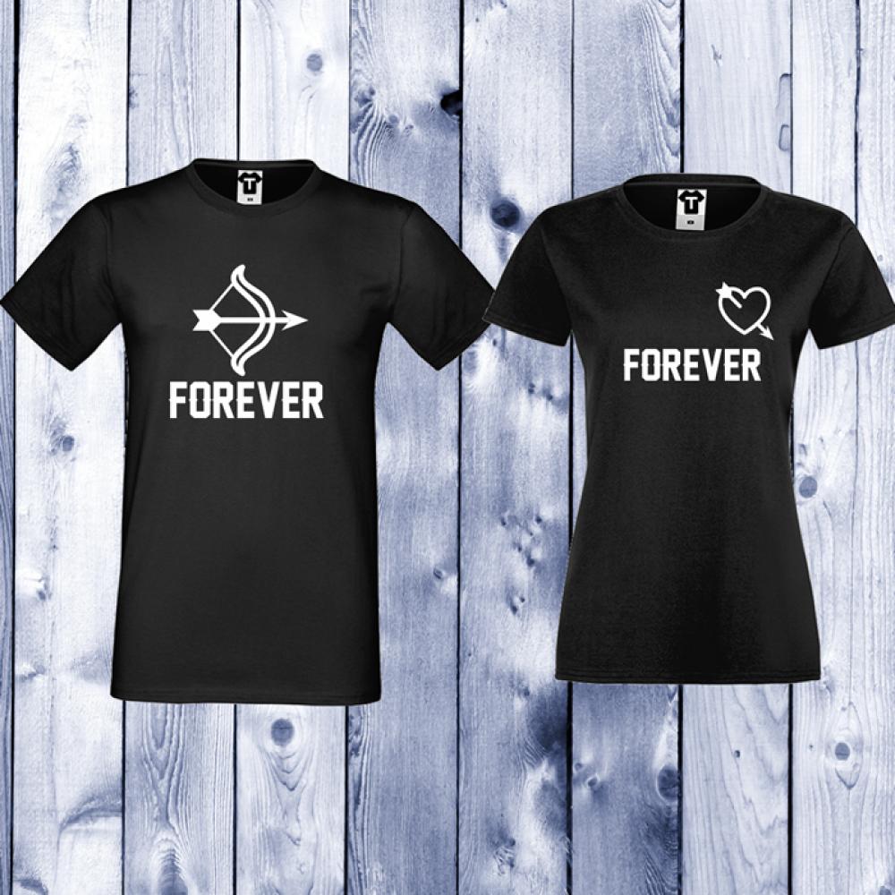 Черни Тениски за двойки Forever Arrows