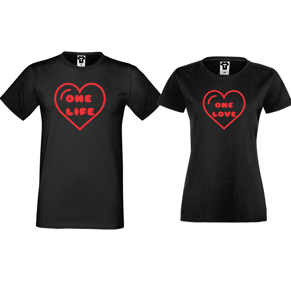 Черни тениски за двойки One Life - One Love