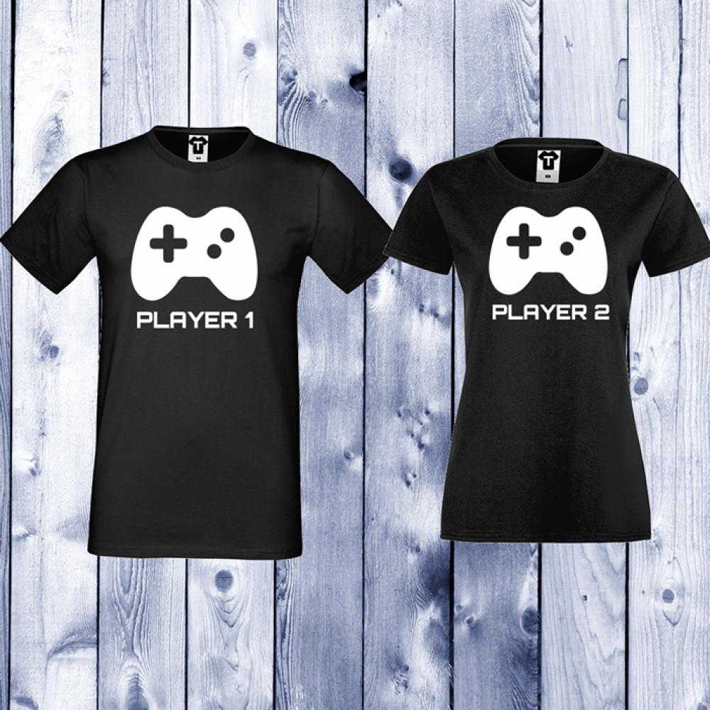 Черни тениски за двойки Player 1 - Player 2