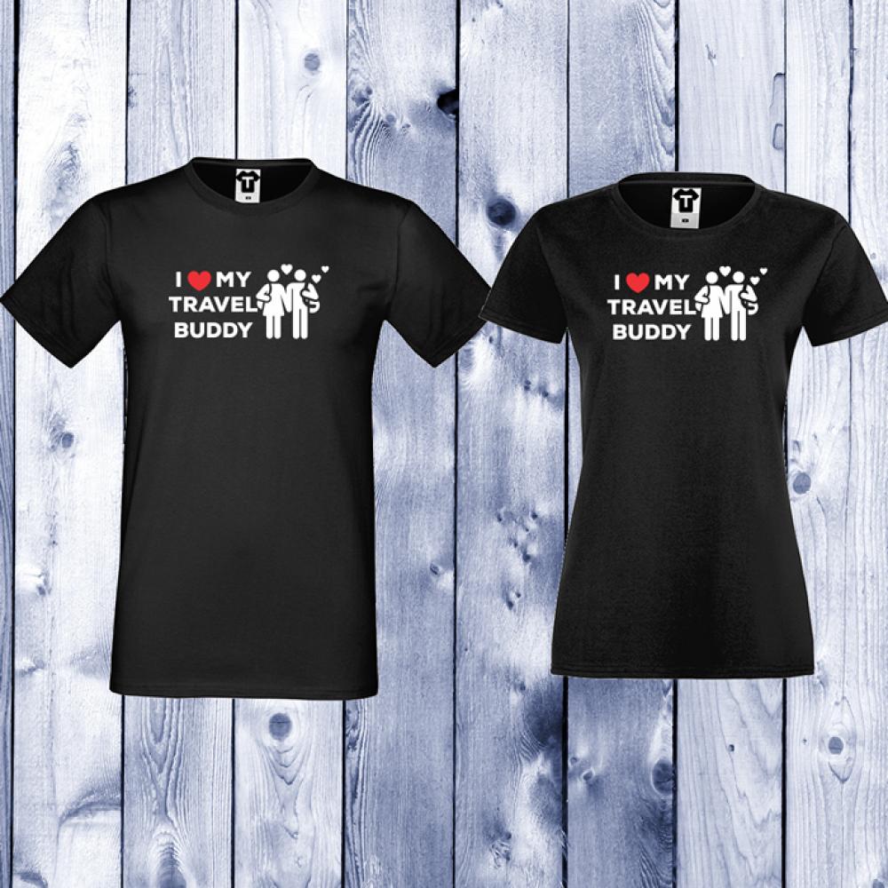 Черни тениски за двойки Travel Buddy