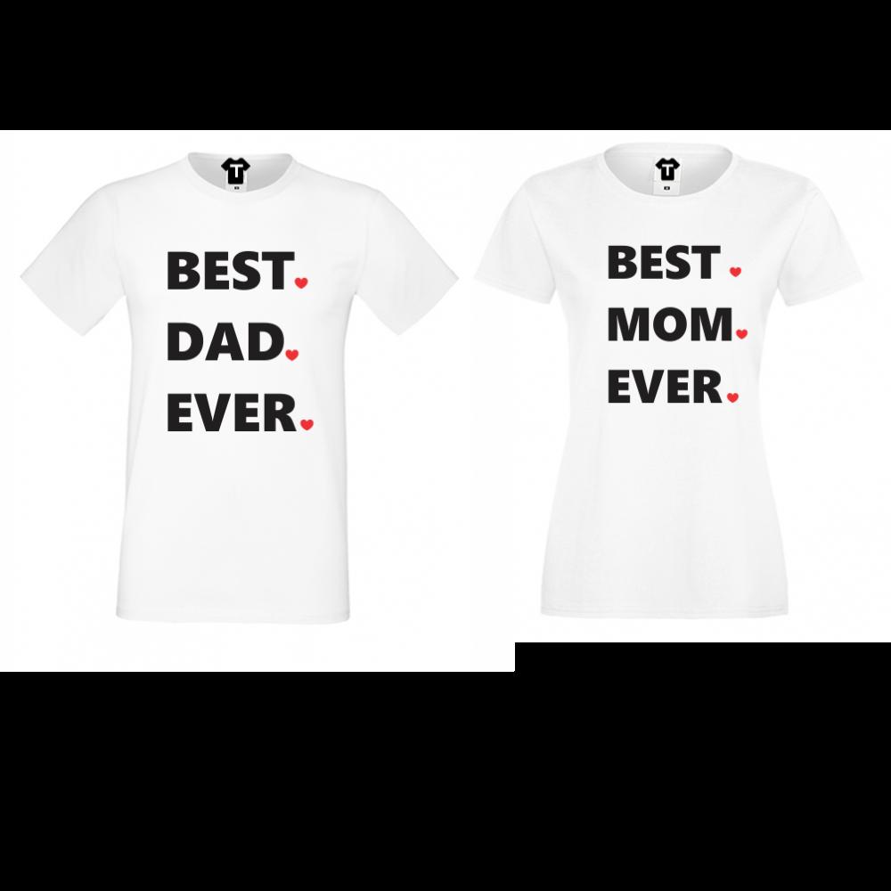 Комплект бели тениски с щампа Best Dad and Mom Ever