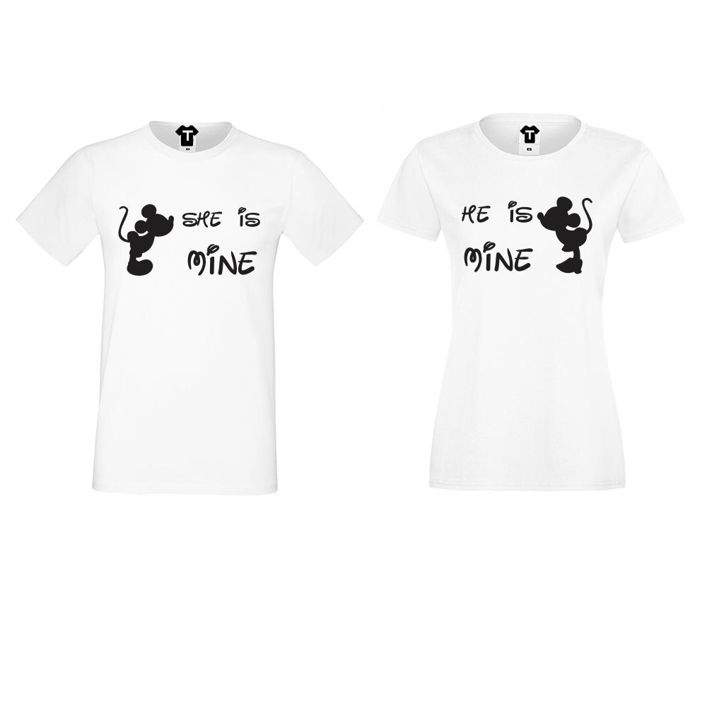 Комплект бели тениски с щампа She is Mine - He is Mine