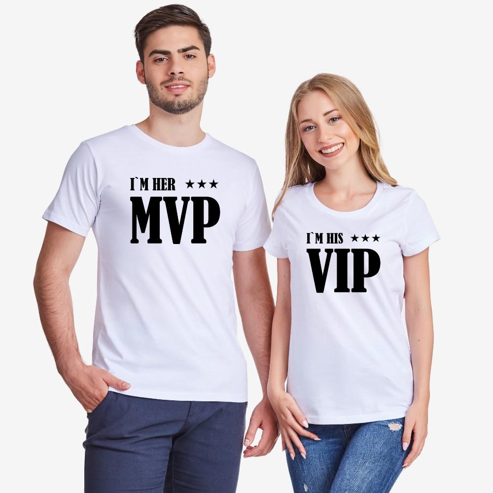 Комплект бели тениски за двойки Her MVP and His VIP
