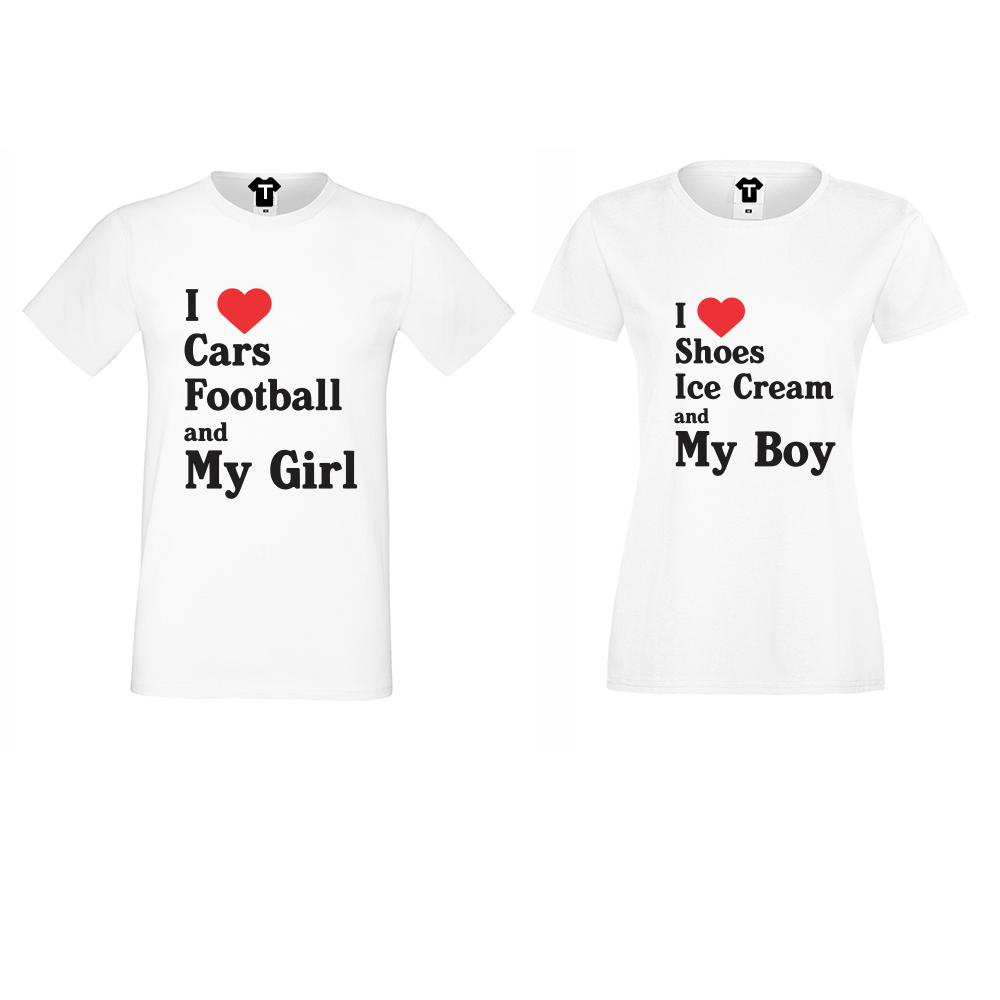 Комплект бели тениски за двойки I Love Shoes, Ice Cream and My Boy