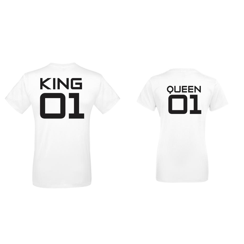 Комплект бели тениски за двойки King 01 - Queen 01