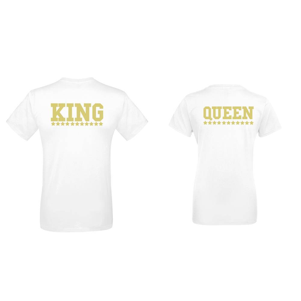 Комплект бели тениски за двойки King - Queen