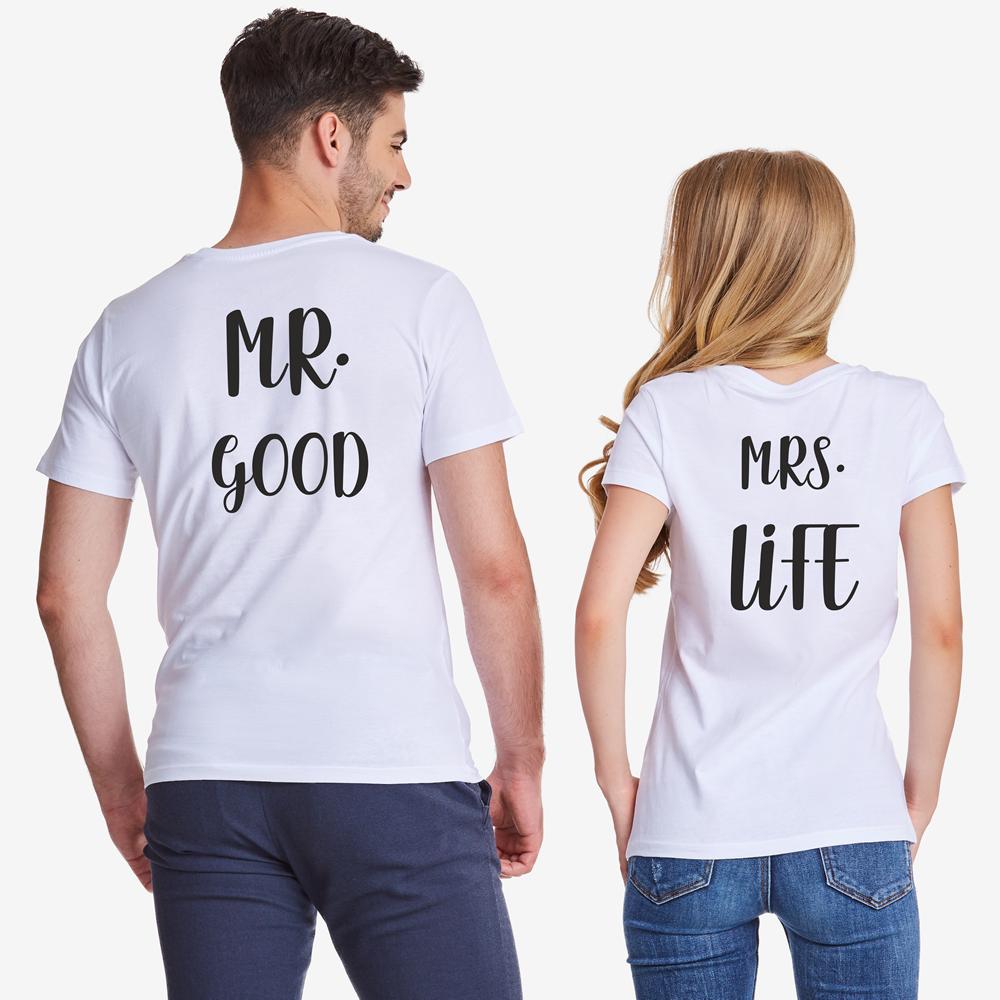 Комплект бели тениски за двойки Mr Mrs Good Life