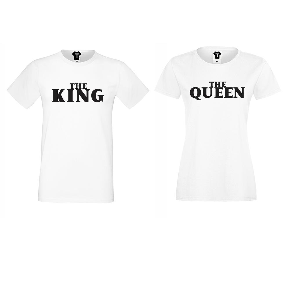 Комплект бели тениски за двойки The Queen and The King