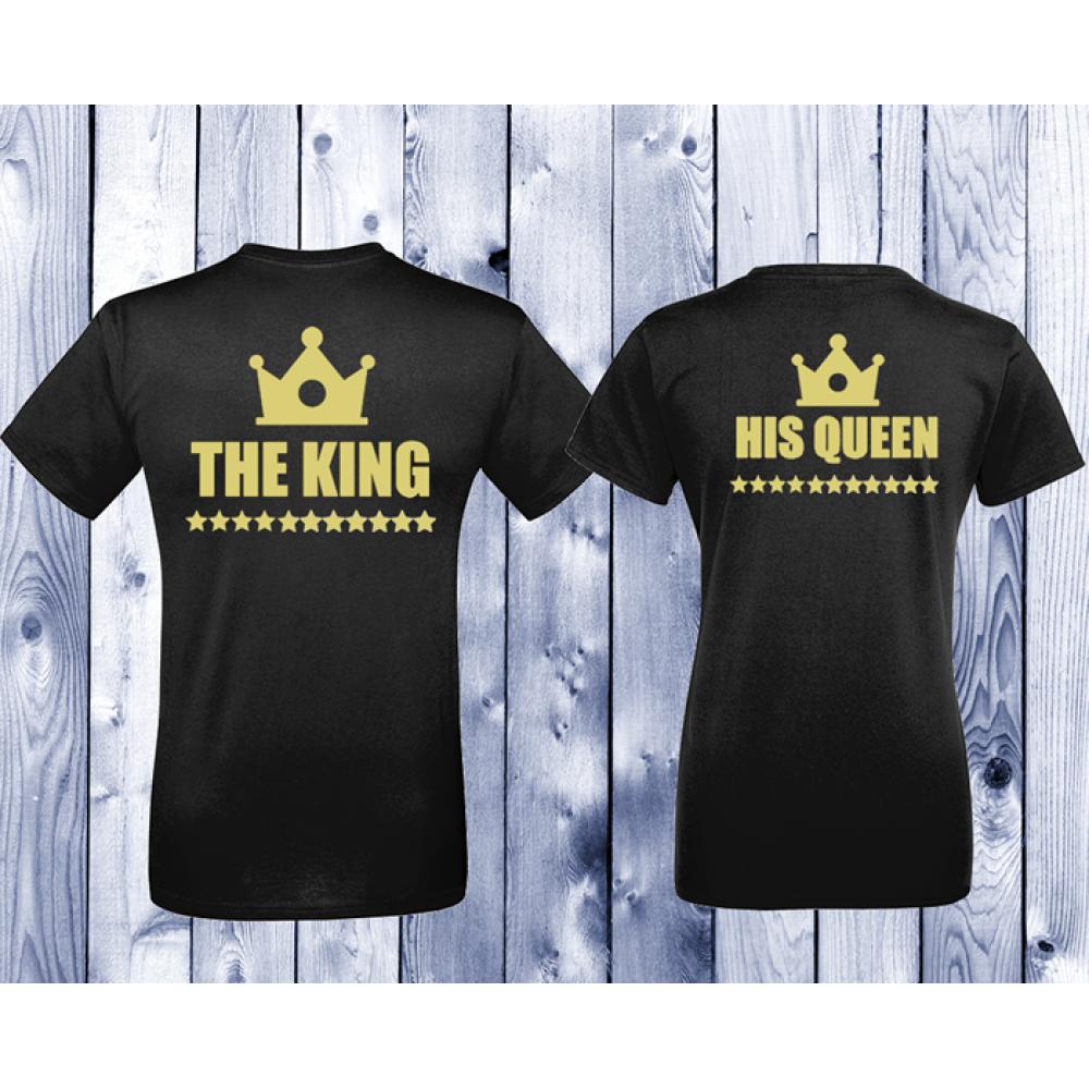 Комплект черни тениски с щампа King - Queen