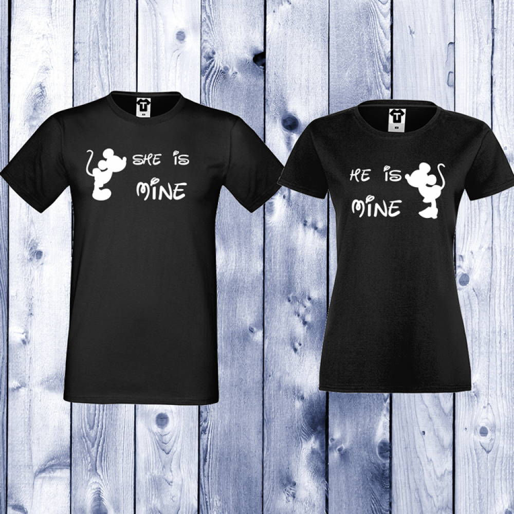 Комплект черни тениски с щампа She is Mine - He is Mine