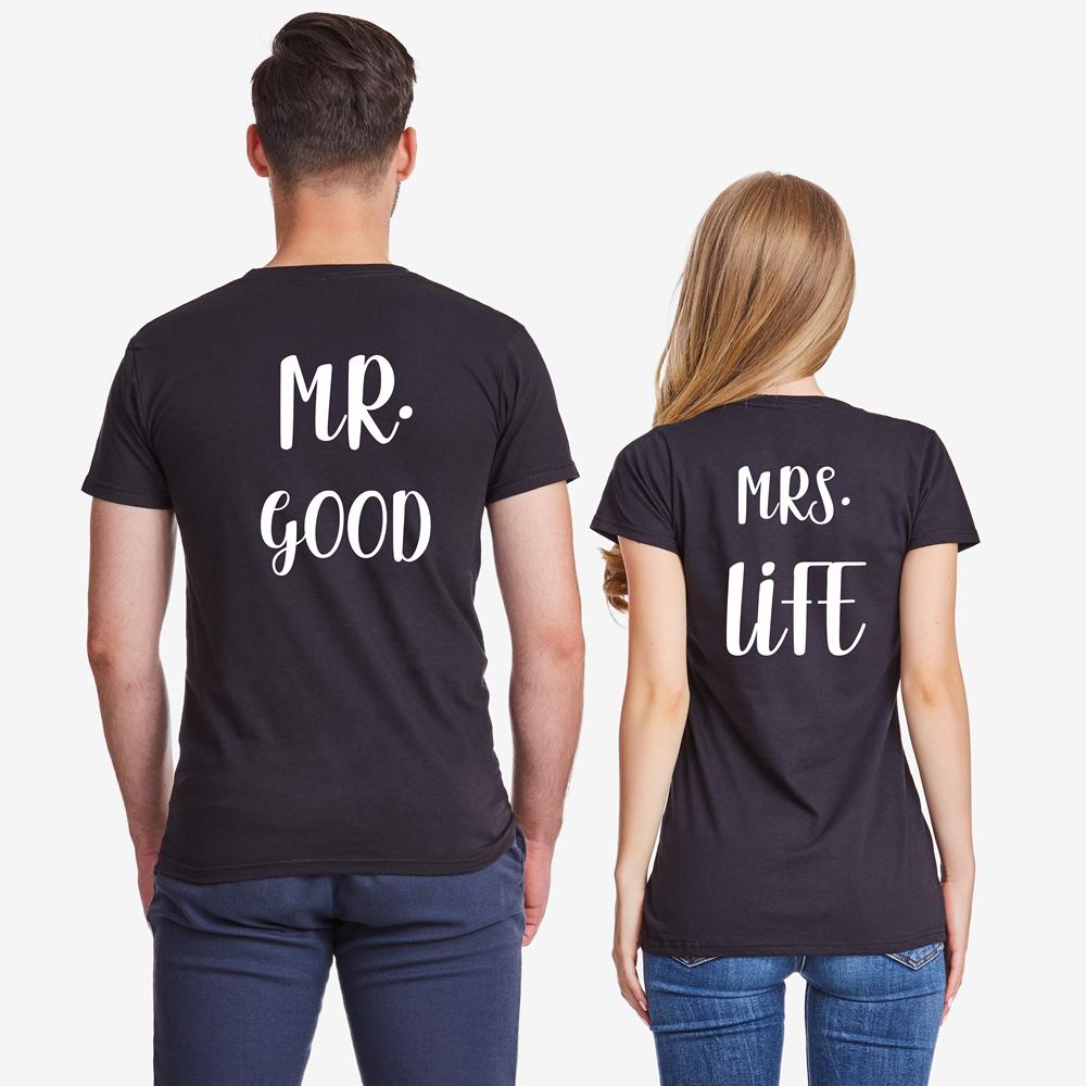 Комплект черни тениски за двойки Mr Mrs Good Life
