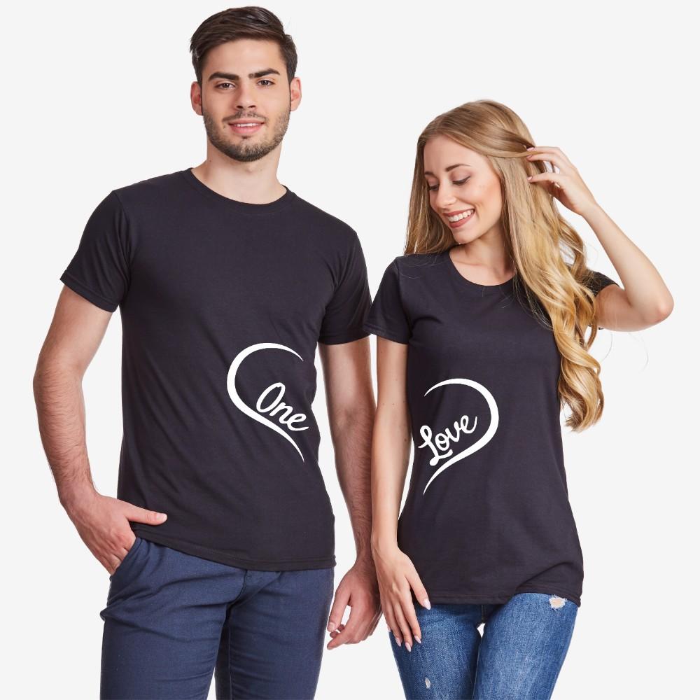 Комплект черни тениски за двойки One Love 2019