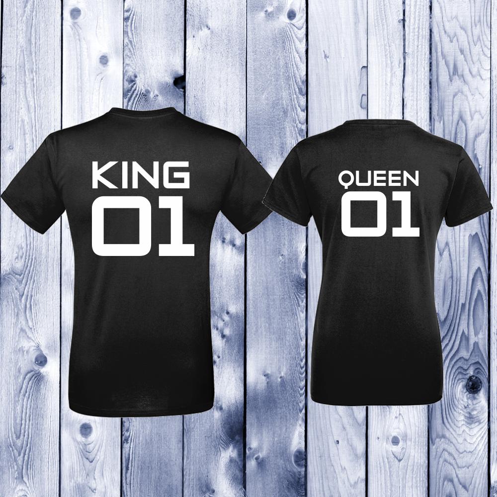 Комплект черни тениски за двойки King 01 - Queen 01