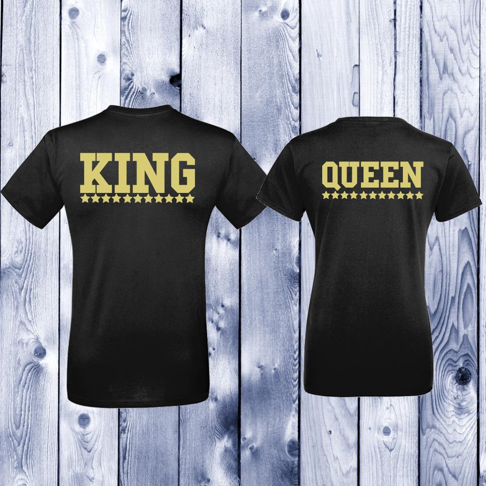 Комплект черни тениски за двойки King - Queen