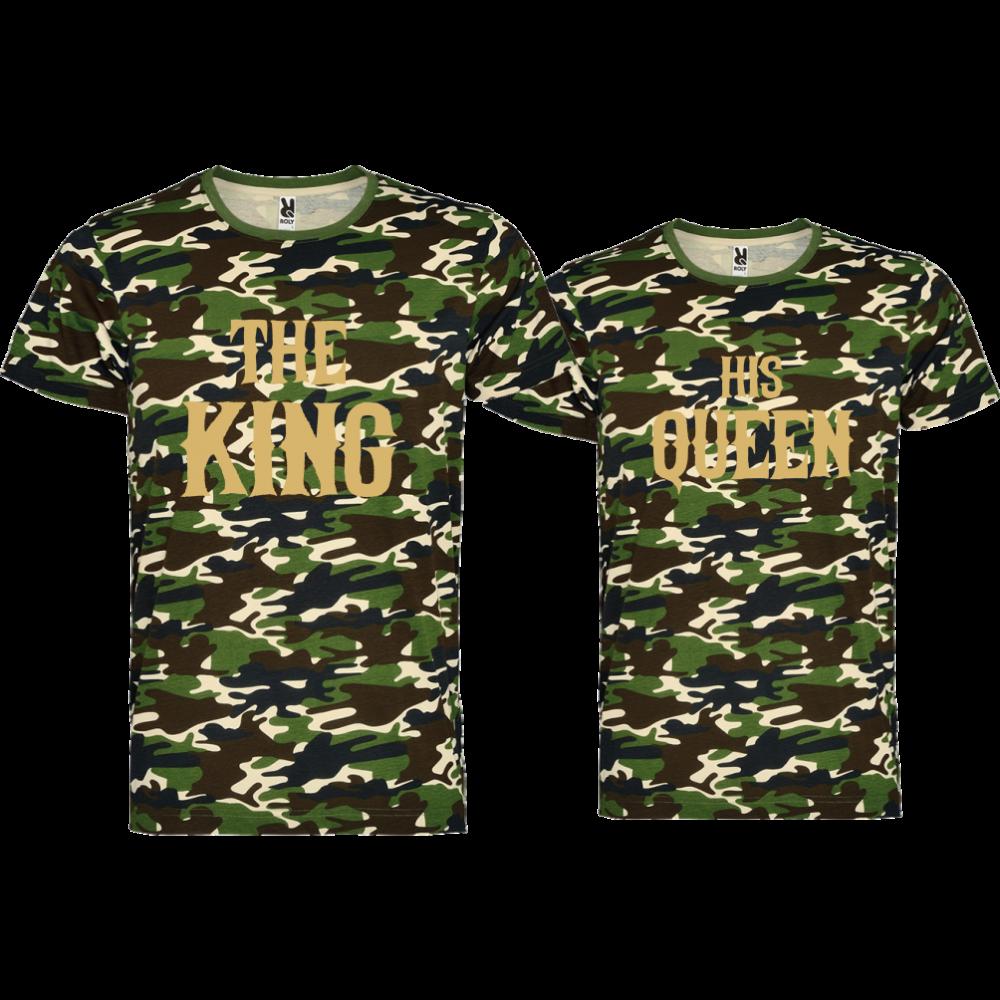 Комплект камуфлажни тениски THE KING HIS QUEEN