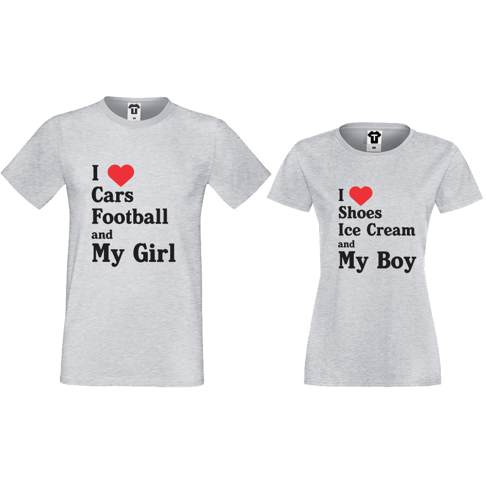 Комплект сиви тениски за двойки I Love Shoes, Ice Cream and My Boy