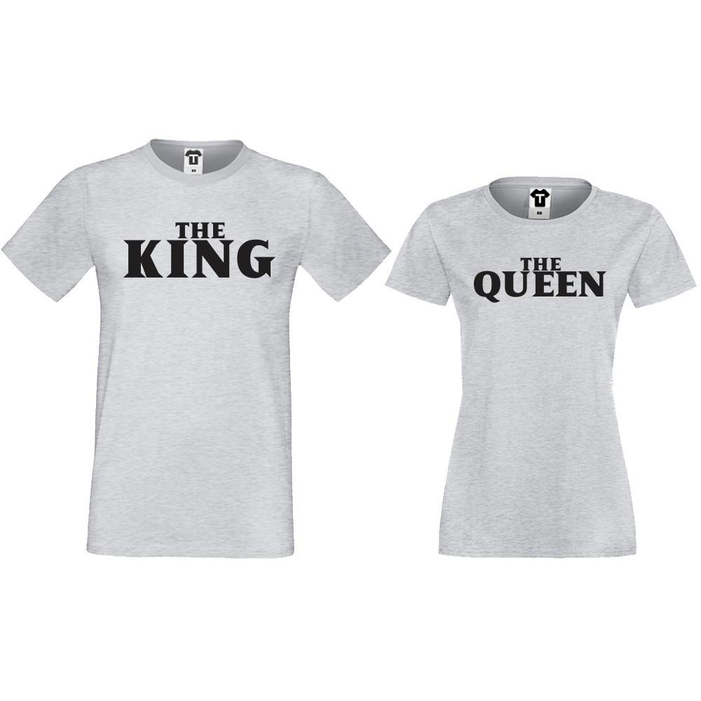 Комплект сиви тениски за двойки The Queen and The King