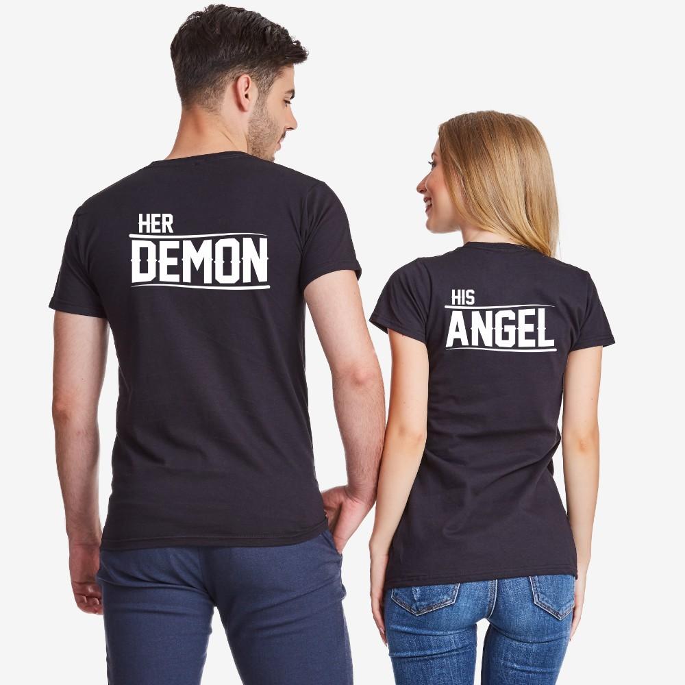 Комплект тениски за двойки в черно Her Demon and His Angel
