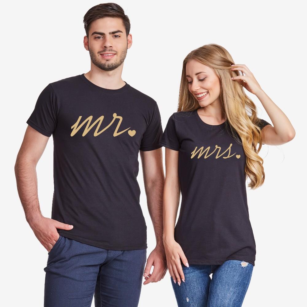 Комплект тениски за двойки в черно Mr and Mrs Gold