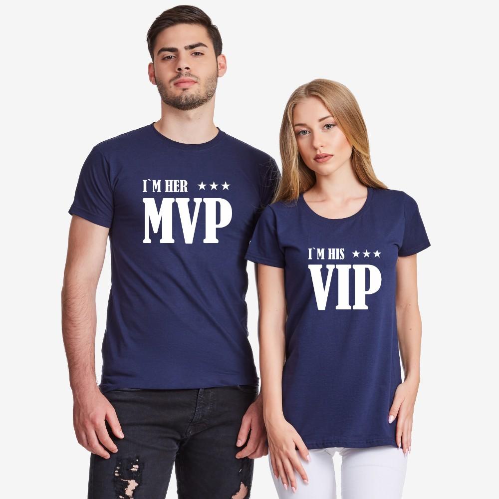 Комплект тениски за двойки в тъмно-синьо Her MVP and His VIP