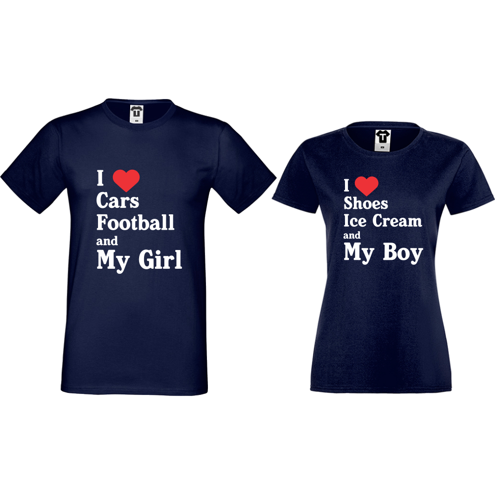 Комплект тъмно-сини тениски за двойки I Love Shoes, Ice Cream and My Boy