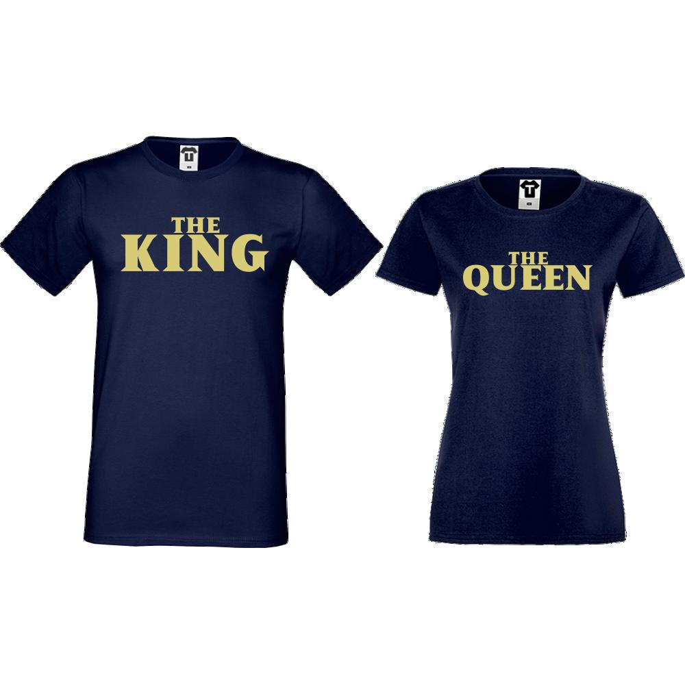 Комплект тъмно-сини тениски за двойки The Queen and The King