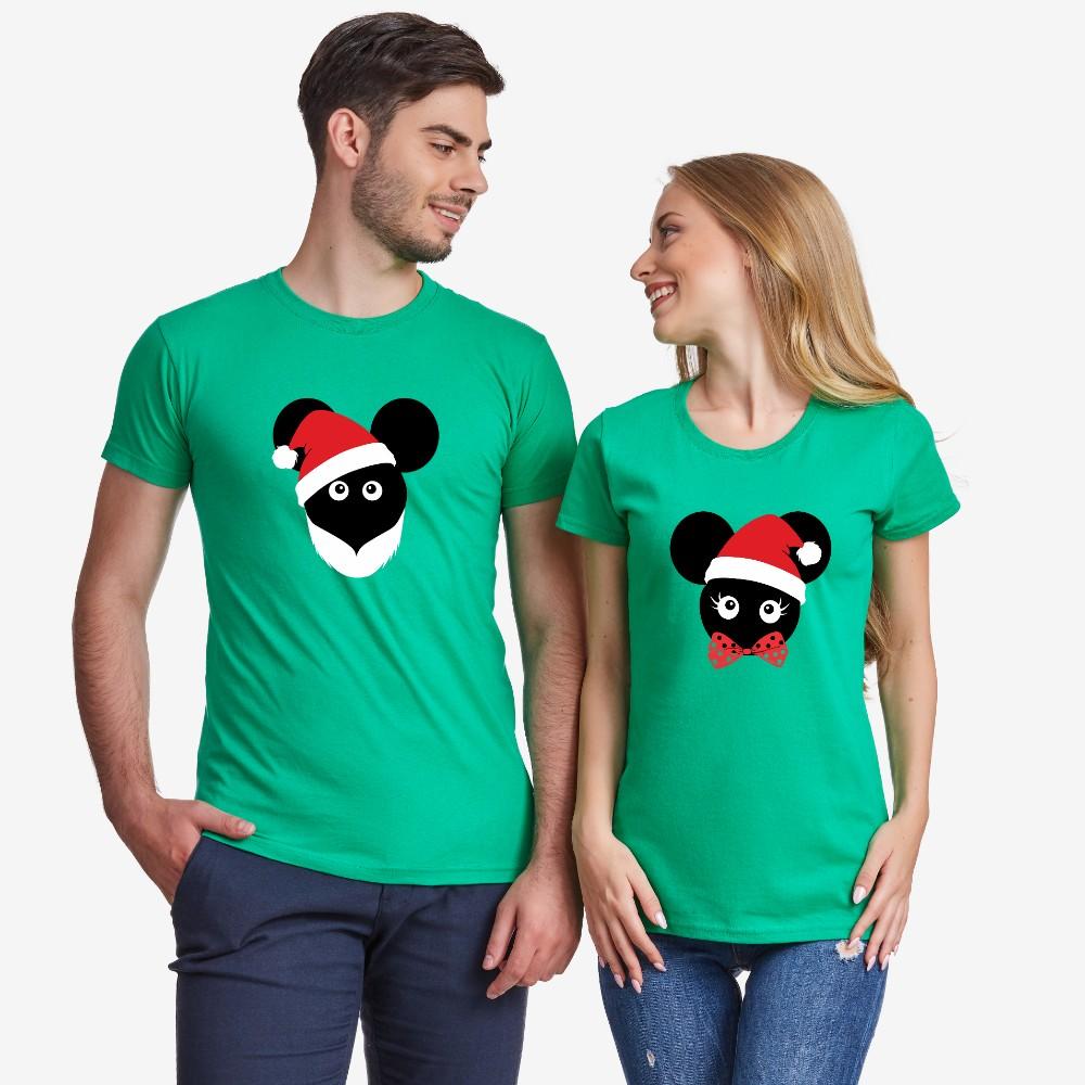 Комплект зелени тениски за двойки Christmas Mouse