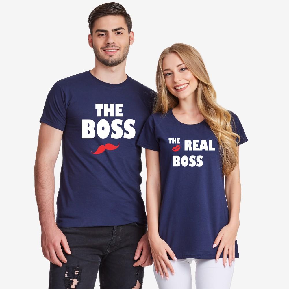 Тъмно-сини Тениски за двойки  The Real Boss Kiss