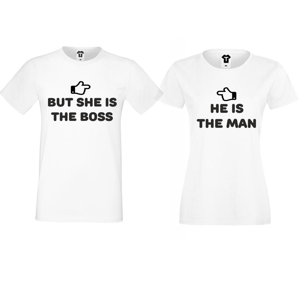 Тениски за двойки  в бяло She is the boss