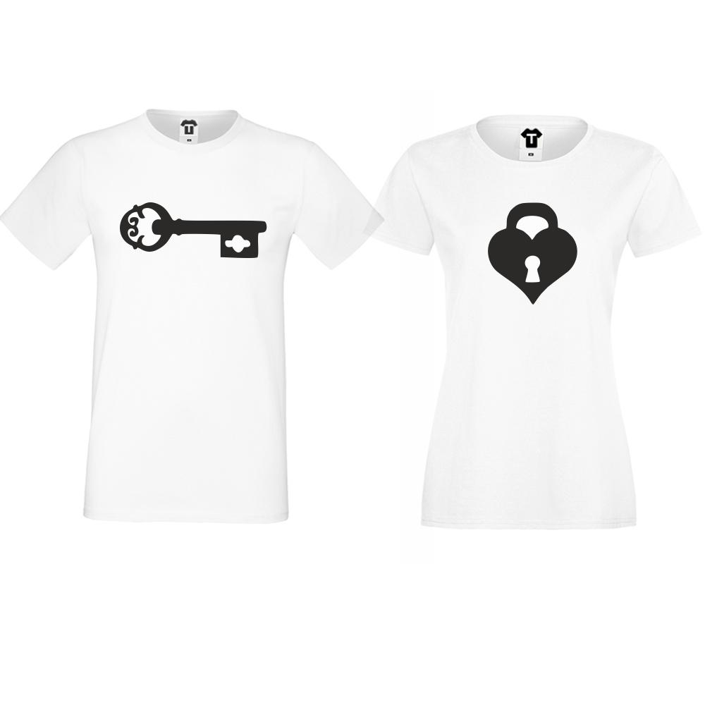 Тениски за двойки  в бяло The key for my heart