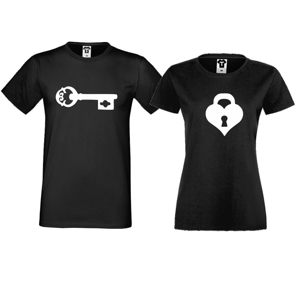 Тениски за двойки  в черно The key for my heart