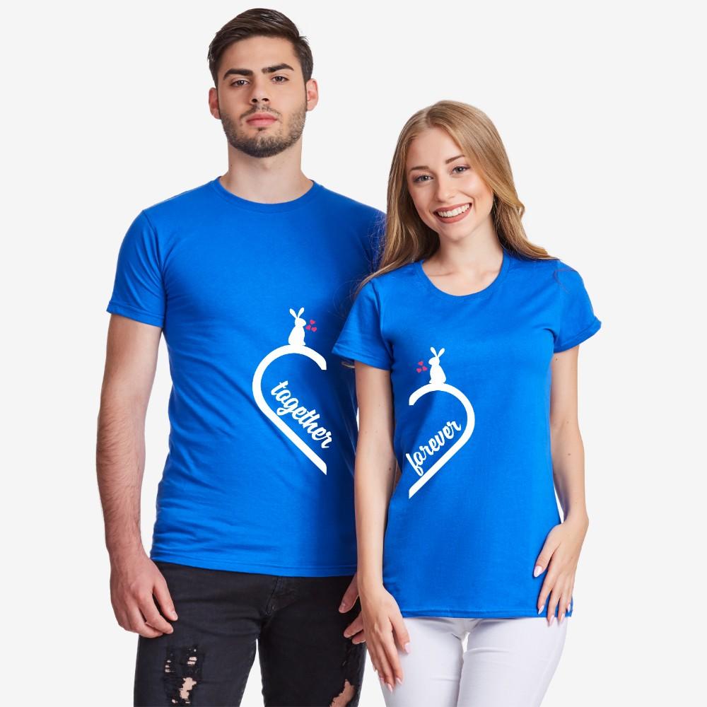 Тениски за двойки в синьо Together Forever Bunny 2019