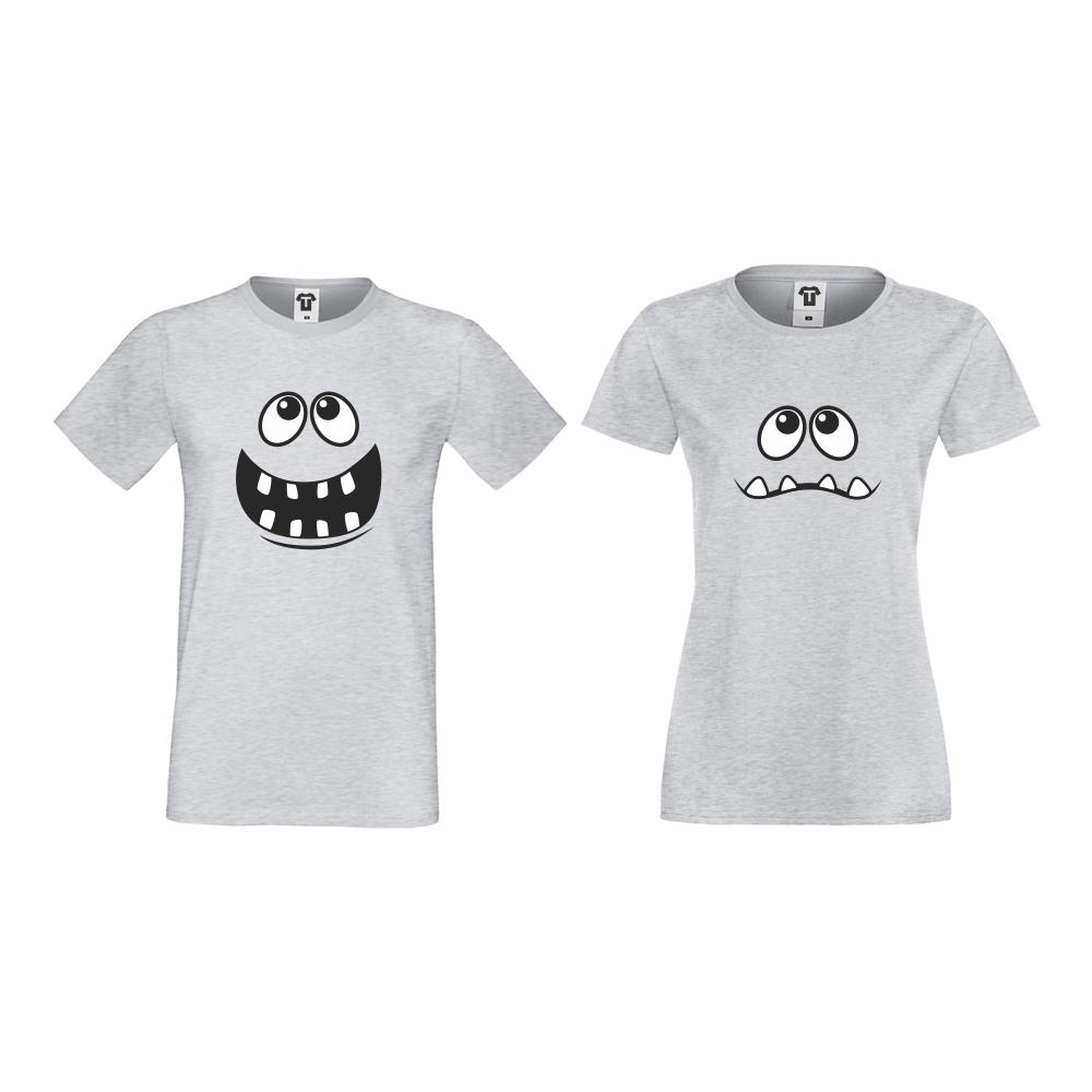 Тениски за двойки в сиво Full Smile