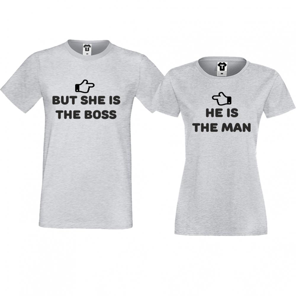 Тениски за двойки  в сиво She is the boss