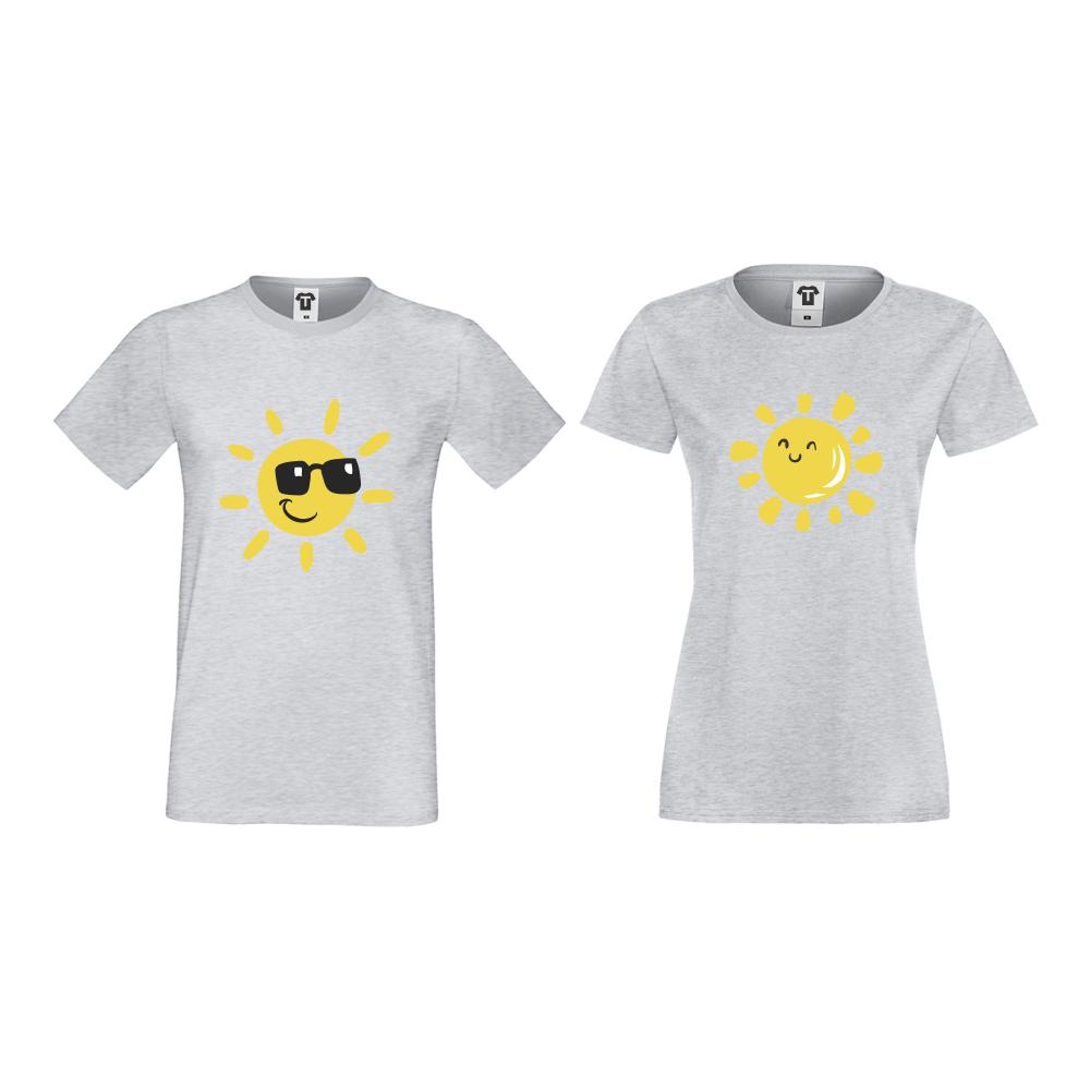 Тениски за двойки в сиво Sun, Smile and Sunglasses
