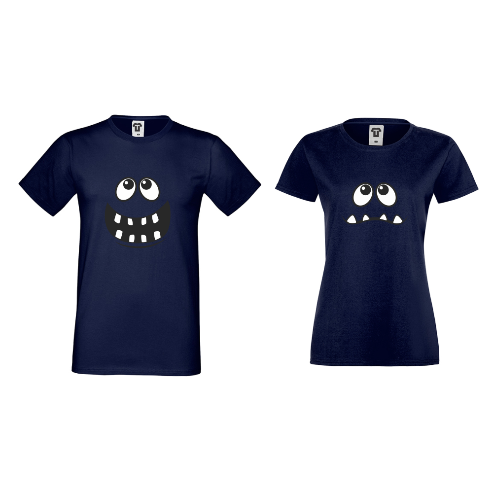 Тениски за двойки в тъмно-синьо Full Smile