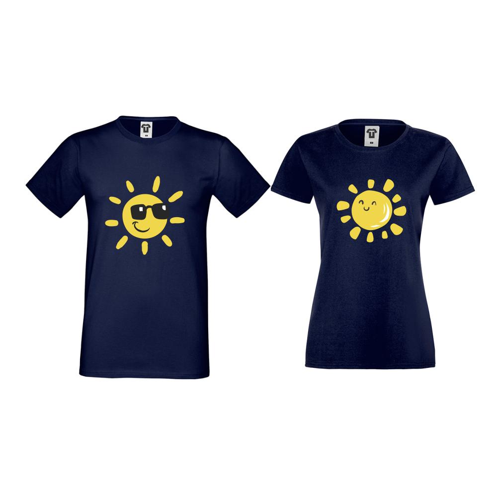 Тениски за двойки в тъмно-синьо Sun, Smile and Sunglasses